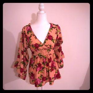 Betsey Johnson Floral Boho pink blouse S